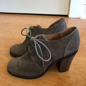 Lucky Brand Mystique Booties Brown Suede Lace Up